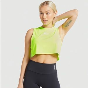 Gymshark Training Cropped Tank - Lime - Small